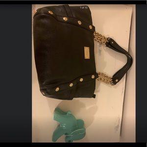 Michael kors black gold leather handbag